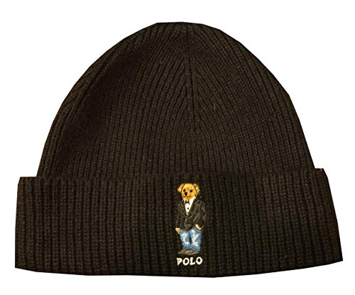 (Polo Ralph Lauren Mens Teddy Bear Winter Knit Hat Skull Cap (One Size, Black) )