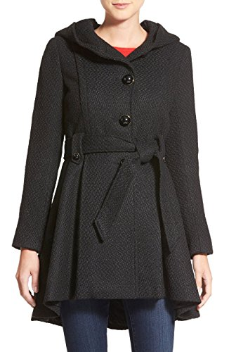 Sportoli Womens Single Breasted Wool Blend Belted Winter Dress Drama Coat with Hood - Black (Size Large) (Black Belted Winter Coat)