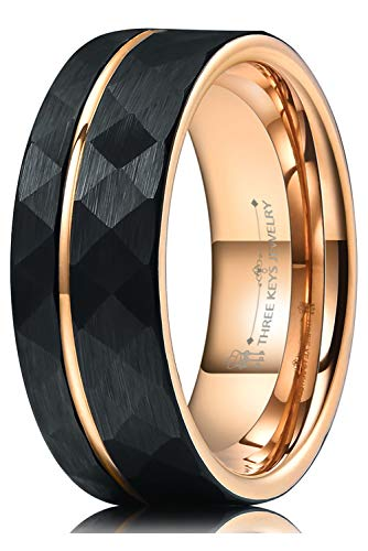 THREE KEYS JEWELRY Men Hammered Wedding Bands Tungsten 8mm Carbide Ring with with Rose Gold Interior & Stripe Infinity Unique for Him Black Size 10.5