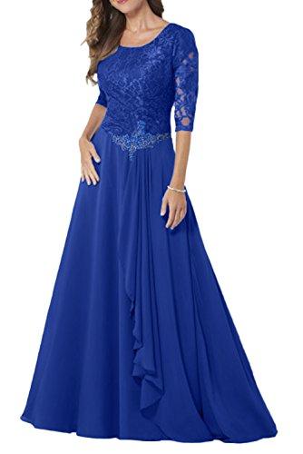 Bridal Dresses Modest (MILANO BRIDE Modest Bridal Mother Dress 1/2 Sleeves A-line Jewel Long Lace-10-Royal Blue)