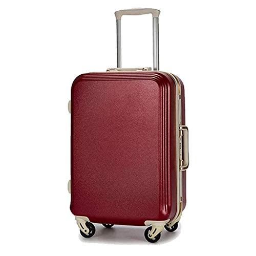 Seller-Wu 20/22/24/26/28Inch Rolling Luggage Lightweight Travel Suitcase On Wheels,Wine Red Aluminum ()