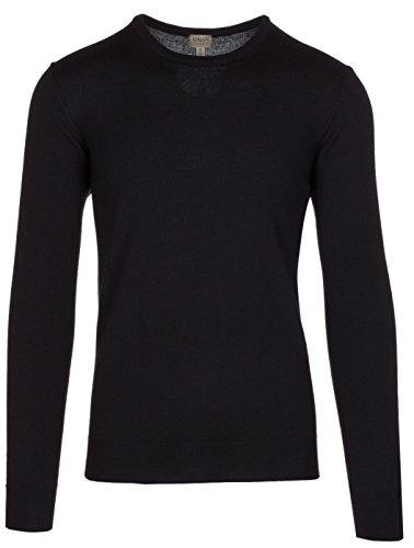 (Armani Collezioni Men's Black 100% Wool Pullover Knitwear Crewneck Sweater, EU 56 / US XXL,)