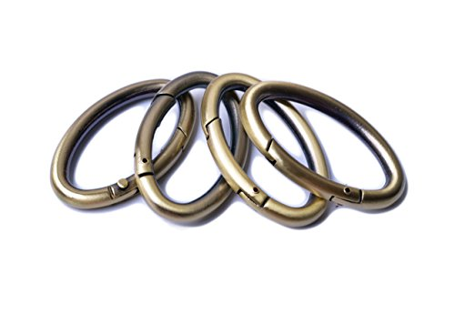 Bobeey 4pcs 29x19mm Spring Oval Rings,Brussed Brass Oval Carabiner Snap Clip Trigger Spring Keyring Buckle,Oval Ring for Bags,Purses BBC8 (Brussed Brass) ...