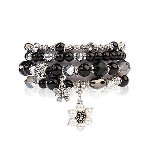 RIAH FASHION Bohemian Multi Strand Faux Pearl Bracelets - Layer Beaded Statement Stretch Lovely Crystal Charm Bangles Flower, Star, Heart (Flower & Butterfly - Black)