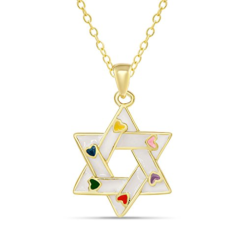 White Enamel 18k Gold Overlay - Lily Nily Star of David Pendant Necklace for Girls 18K Gold Overlay (White)