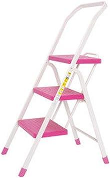 LYX® Escalera Multifuncional, Espesar Escalera metálica Escaleras Escalera doméstica Tres Pisos Escalera de Escalera doméstica Taburete de Escalera (Color : Pink): Amazon.es: Electrónica