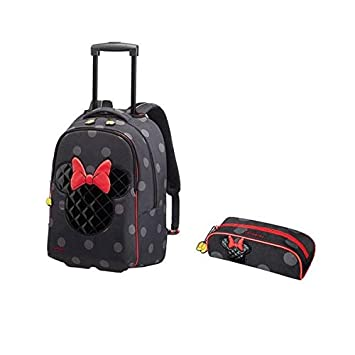 c34a1f81a30 Samsonite Minnie Iconic Luggage Set - Disney Ultimate Backpack With Wheels  and Pencil Case Set - Black - 2 tems  Amazon.co.uk  Luggage