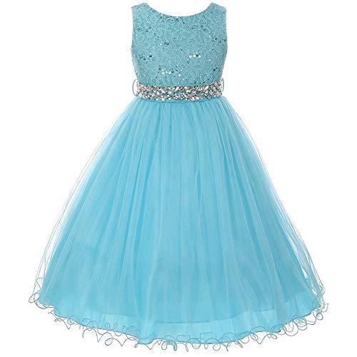 Big Girls Sleeveless Dress Glitters Sequined Bodice Double Layer Tulle Skirt Rhinestones Sash Flower Girl Dress Turquoise - Size 10 -
