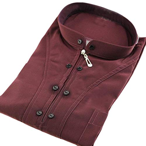 Spirio Men's Abayas Islamic Muslim Dubai Thobes Long Sleeve Mock Neck Zipper Saudi Robe 3 L