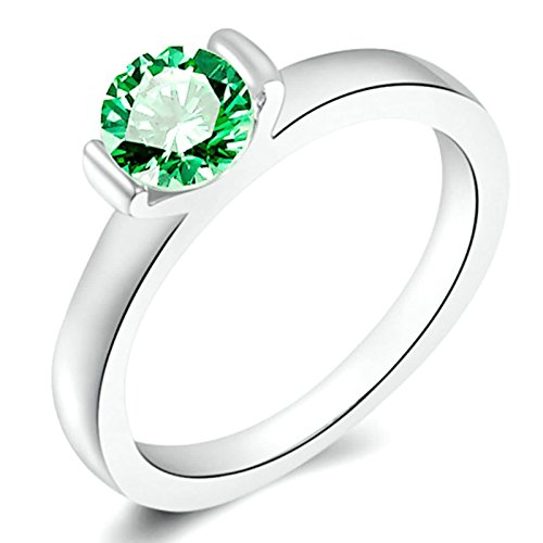 MoAndy Silver Plated Green Cubic Zirconia Wedding Band Ring for Women Size 6 (Yin And Yang Halloween Costume Ideas)