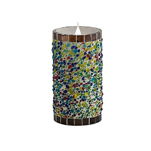 Mandarin Fla-SOL3D-3-6SS Speckled Stucco 3D Virtual Flame Candle, 6""