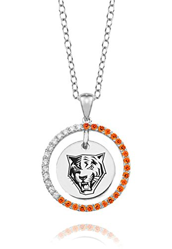 Buffalo State College Orange Cz Circle Necklace in Sterling Silver by College Jewelry
