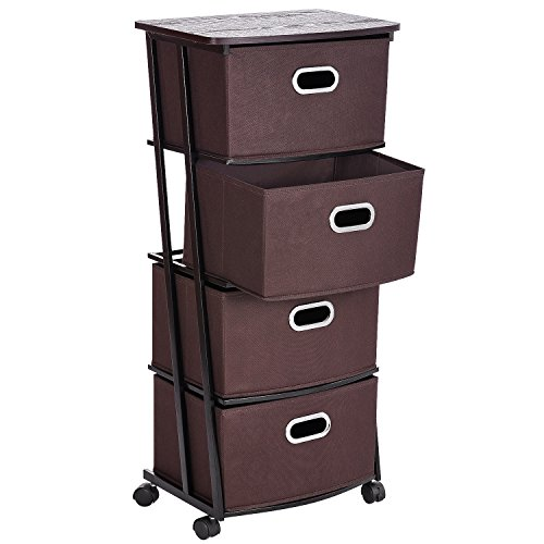 Storage Drawer Cart Unit with Wheels, MaidMAX 4 Shelves Organization Cart with 4 Nonwoven Collapsible Drawers and 4 Rolling Wheels (2 with brakes) for Clothes, Books, Tools and Papers