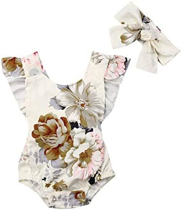Geagodelia Twin Baby Girl One Year Old Summer Outfit Newborn Ruffled Sleeveless Romper Linen Bodysuit Backless Clothes