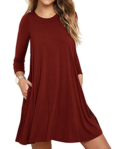 UMETINY Women's Pockets Dress Casual Swing T-shirt Dresses (S, Long Wine Red)