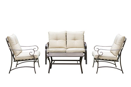 Savannah Steel Frame Outdoor Patio Furniture 4 Piece Conversation Set with Coffee Table, Sofa Set, Beige by Living Express (Savannah Rattan Garden Furniture)