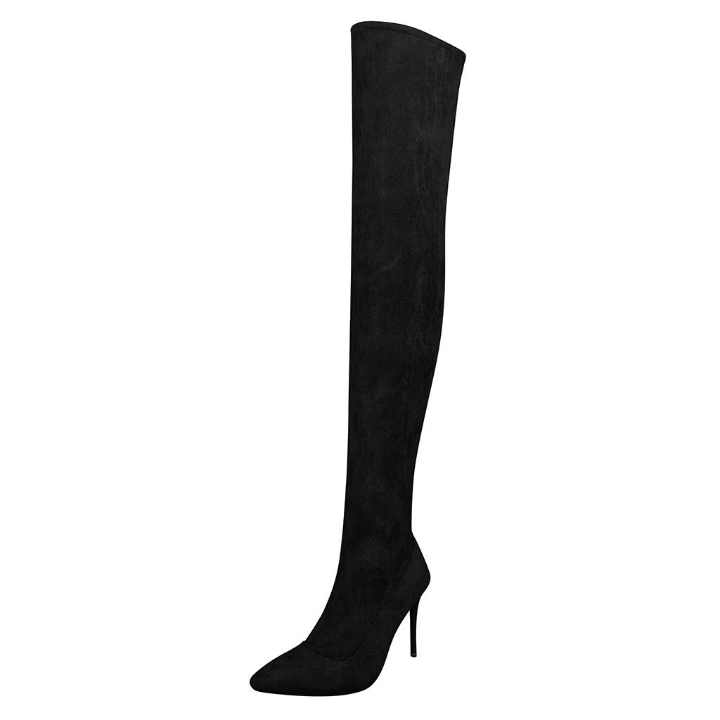 Dermanony Womens Over Knee High Heel Boots Fashion Flock Pointed Toe Zipper High Boots Solid Color High Heel Shoes Black by Dermanony _Shoes