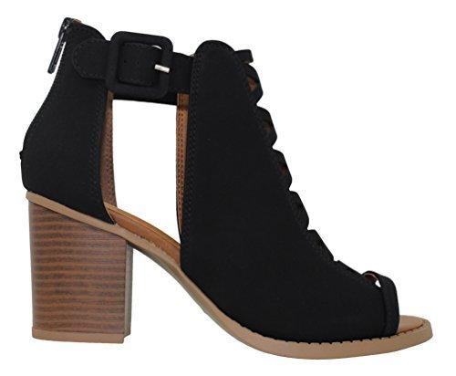 MVE Shoes Women's Platform Open Toe Ankle Strap High Heel Sandal, Black dispu Size 7.5