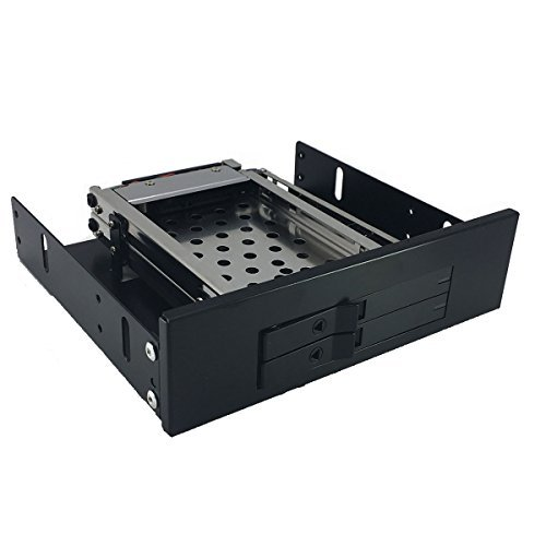 2 Bay 2.5 SSD/HDD Mobile Rack - GLOTRENDS 252K 2 Bays 2.5 to 5.25 inch Trayless SATA SSD/HDD Mobile Rack Backplane CD-ROM Space Installation, Hot Swap, Stainless Steel (Power Box Backplane)