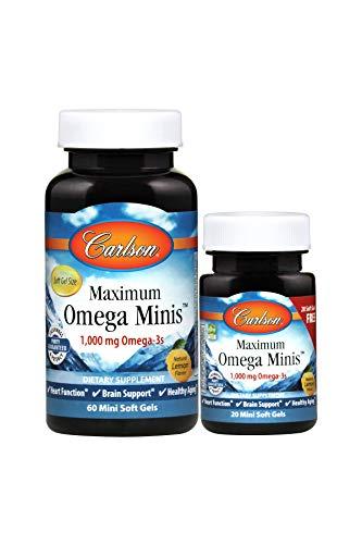 Carlson - Maximum Omega Minis, 1000 mg Omega-3s, Heart Function, Brain Support & Healthy Aging, Lemon, 60+20 Mini Soft -