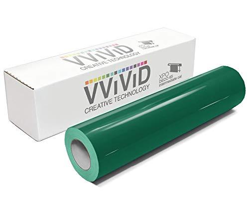 VViViD Dark Green Gloss 11.8 Inches x 84 Inches (7 Feet) DECO65 Permanent Adhesive Craft Vinyl for Cricut, Silhouette & Cameo