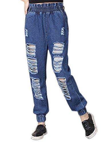 morbidi Blu e con Pantaloni larghi pantaloni donna Idopy da 1qBC6wC4