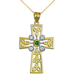 14k Yellow Gold Celtic Cross Trinity Knot Diamond Pendant Necklace with Genuine Emerald