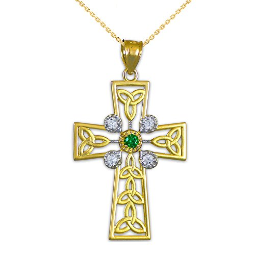 14k Yellow Gold Celtic Cross Trinity Knot Diamond Pendant Necklace with Genuine Emerald, 22