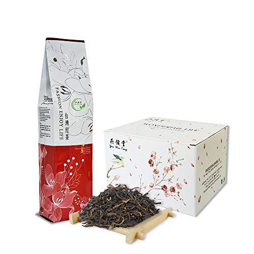 Yan Hou Tang Taiwan Black Tea Loose Leaf Organic Leaves Sun Moon Lake Red Jade Caffeine 75g 30 Servings - Nature High Mountain Unique Honey Flavor Sachet English Breakfast Tea Half Fermented