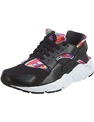Nike Big Kids Huarache Print Running Shoes, Black/Hyper Violet