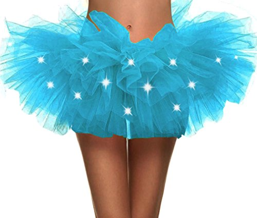 Toppers Womens Fairy Princess LED Light up 5 Layered Tulle Tutu Skirt Sky -