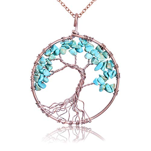 (Vintage Handmade Nature Tumbled Raw Turquoise Stone Copper Tree of Life Necklace Semi Precious Stone Wire Wrapped Family Root Healing Birthstone Tree of Life Pendant Necklace Jewelry Gifts for Women)
