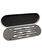 6-Piece Wax Carving Stainless Steel Tool Set - Silicone Container and Protective Metal Carrying Case Included (Metallic)