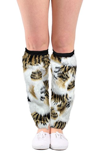 Women's Faux Fur Leg Warmers Furry Animal Print Boot Cuffs Cosplay Accessories (Hippie Costume Ideas For This Year)
