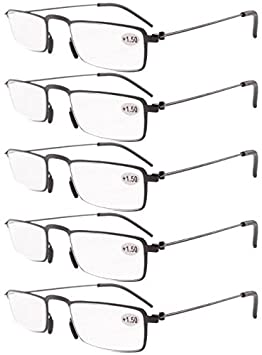0faba1f561 Eyekepper 5-Pack Straight Thin Stamped Metal Frame Half-eye Style Reading  Glasses Readers Black +4.0  Amazon.co.uk  Health   Personal Care