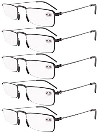 50a6534678 Eyekepper 5-Pack Straight Thin Stamped Metal Frame Half-eye Style Reading  Glasses Readers