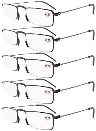 64c375f45751 Eyekepper 5-Pack Straight Thin Stamped Metal Frame Half-eye Style Reading  Glasses Readers