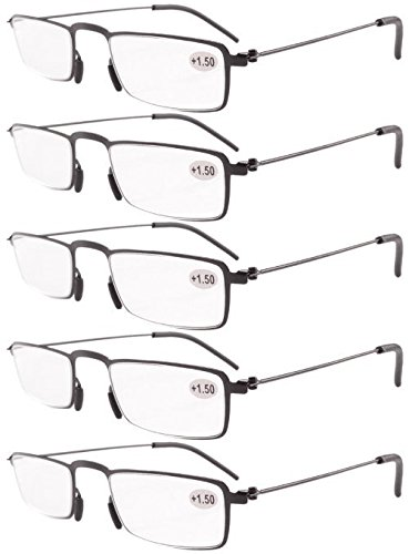 Eyekepper 5-Pack Straight Thin Stamped Metal Frame Half-eye Style Reading Glasses Readers Black - Glasses Frames Clean