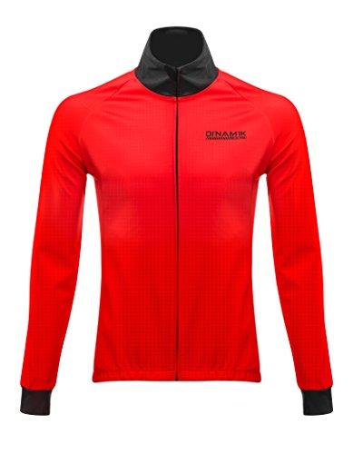 Dinamik Men's Thermal Winter Cycling Jacket Triple Layer Fleece Bike Windbreaker - Water Resistant,Red,Large