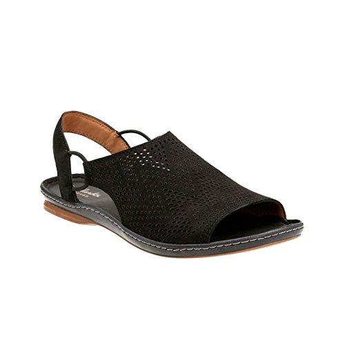 Clarks Leather Slides (Clarks Sarla Cadence Womens Flat Slingback Sandals Black Nubuck 8)