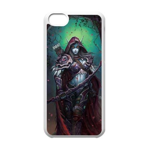 Sylvanas Windrunner coque iPhone 5c cellulaire cas coque de téléphone cas blanche couverture de téléphone portable EEECBCAAN08402