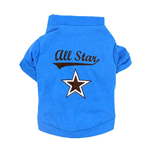Wakeu Pet Clothes For Small Dog Girl Dog Boy ALL Star T-shirt Clothing Summer (XS, Blue) (The Winter Mant)