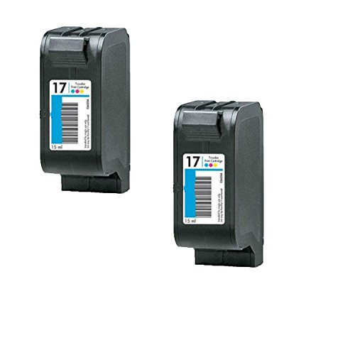 2 Pack Premium Compatible for HP 17 Tri-Color Ink Cartridge (C6625AN)