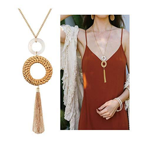 Tassel Pendant Necklace Handmade Straw Wicker Braid Statement Pendant Y-Shaped Long Chain Necklace for Women (tan)