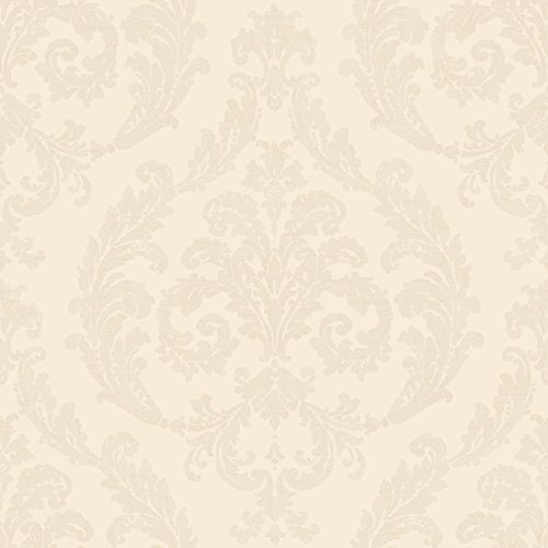 (Galerie Wallcoverings Palazzo G67607 Cream and Iridescent Cream Damask Wallpaper)