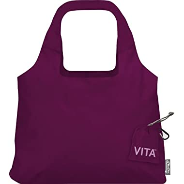 ChicoBag Vita Compactable Reusable Shopping Tote/Grocery Bag with Pouch, Boysenberry, 19 x 12.5-Inch Bag/4 x 4-Inch Pouch