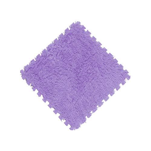 Twelve One Piece EVA Foam DIY Puzzle Mat Long Hair Carpet Mat Plush Soft Area Rug Children Kid Baby Playmat 30x30CM (Purple)