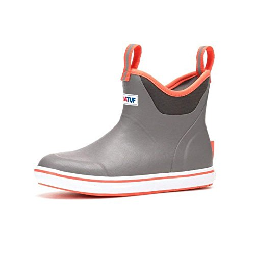 Xtratuf Women's Ankle Deck Slip-On Fishing Boot (11, Grey/Coral)