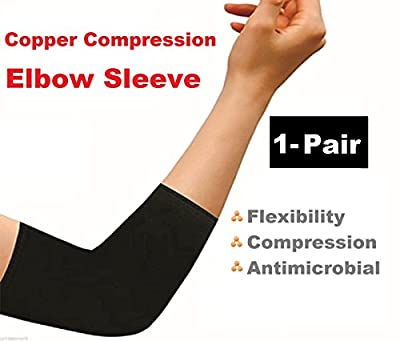 (1 Pair) iBuylinks Comfort Copper Infused Elbow Compression Sleeve Support Brace Joint Pain - For Men & Women