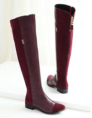 YCMDM Cavaliere Stivali Side Zipper Alta-Qualit stivali del ginocchio delle donne del nuovo di modo temperamento Primavera Autunno Inverno Nero Rosso 34 35 36 37 38 39 , red , 34